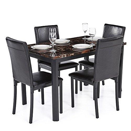 isremi (TM) UK uns FR Lager ikayaa Moderne Küche Möbel Esszimmer Tisch Stuhl Set für 4Personen in Marmor-Optik Top Max 180kg Kapazität 5x