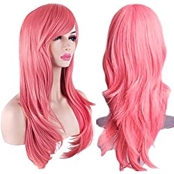 AKStore Women's Heat Resistant 28-Inch 70cm Long Curly Hair Wig with Wig Cap, Pink