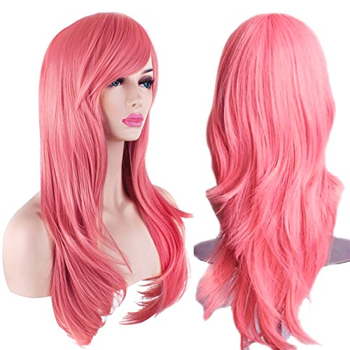 "AKStore Fashion Wigs 28"" 70cm Long Wavy Curly Hair Heat Resistant Wig Cosplay Wig For Women With Free Wig Cap (Pink)"