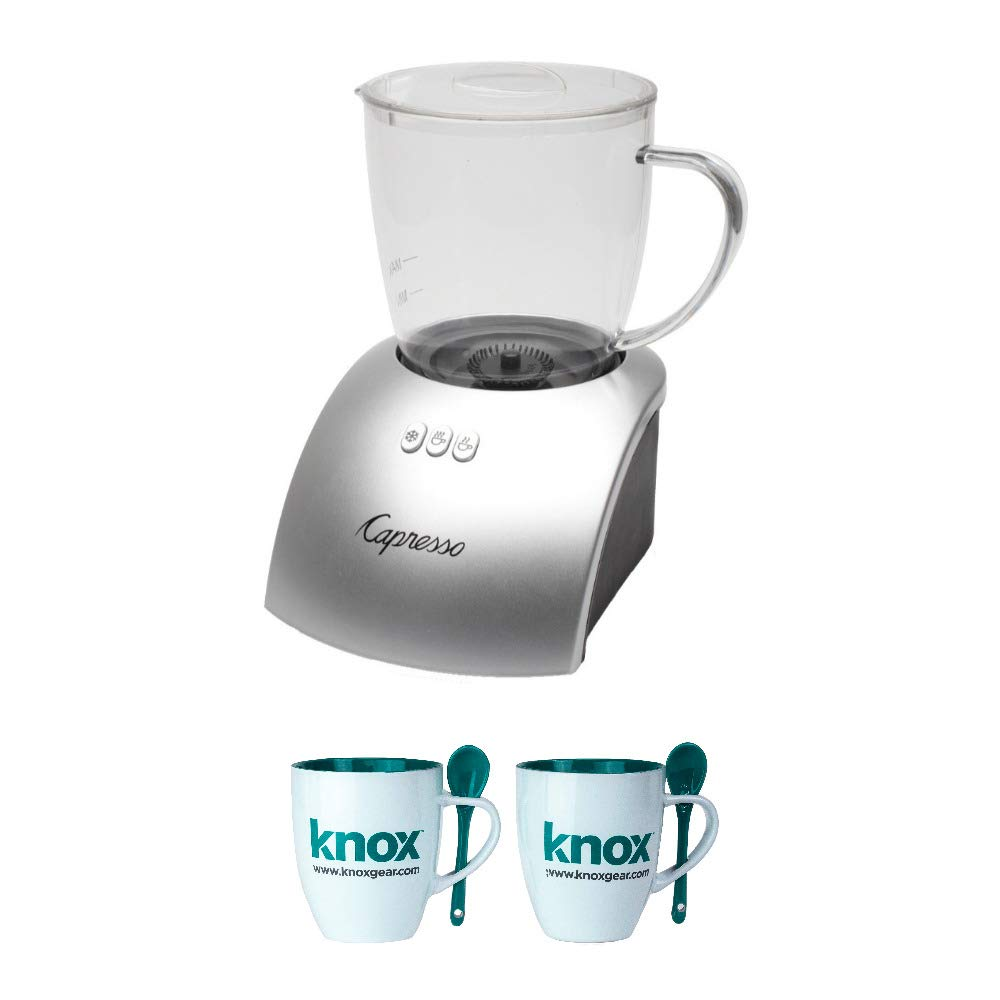Capresso 204.04 frothPLUS Automatic Milk Frother and Hot Chocolate Maker Includes Set of Two Mugs Bundle (Renewed)