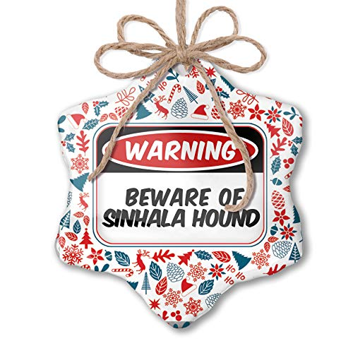 NEONBLOND Christmas Ornament Beware of The Sinhala Hound Dog from Sri Lanka Red White Blue Xmas