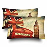 InterestPrint London Red Telephone Booth Big Ben National Flag Union Jack Pillow Cases Pillowcase Queen Size 20x30 Set of 2, Rectangle Pillow Covers Protector for Home Couch Sofa Bedroom Decoration