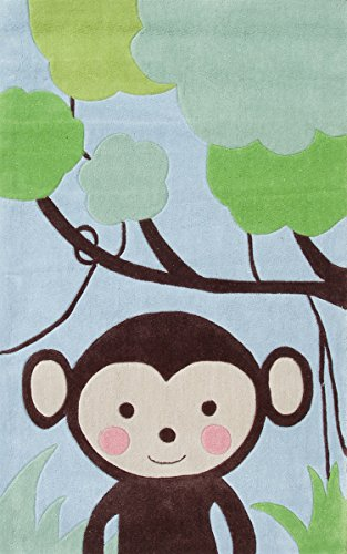 The Rug Market Kids Rugs Jungle Mania, Blue/Brwn/Grn, 2.8 x (Color Hand Hooked China)