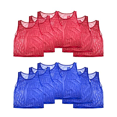 Nylon Mesh Scrimmage Team Practice Vests Pinnies Jerseys for Children Youth Sports Basketball, Soccer, Football, Volleyball (12 Jerseys) (Kids Team Jersey Baseball)