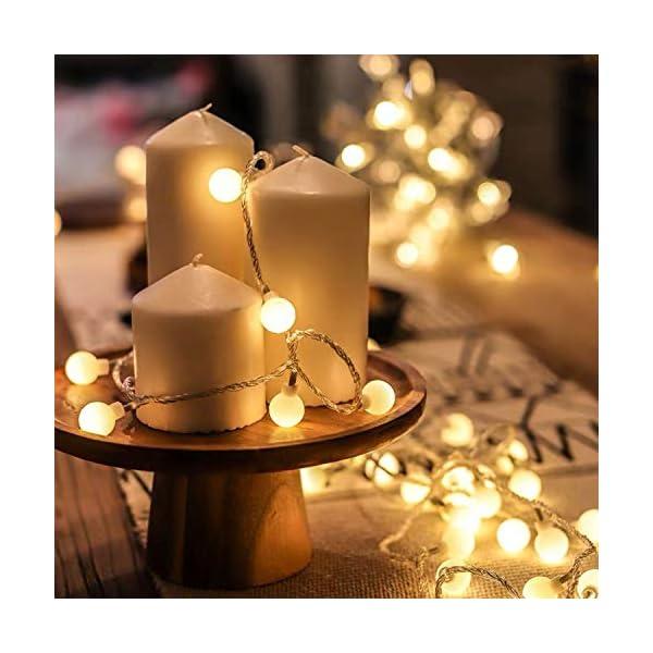 BANCELI-Catena Luminosa Solare - 100LED 10M Luci Decorative Stringa Solari Impermeabile Illuminazione per Natale Luce Solare a Sfera di Cristallo per Giardino, Patio, Alberi (Bianco Caldo) 3 spesavip