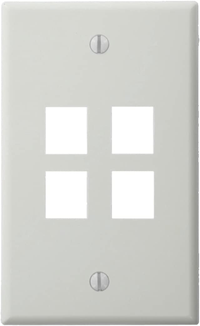 Single Gang White 4-Port Leviton QuickPort Wallplate pack of 5 40804-WCP