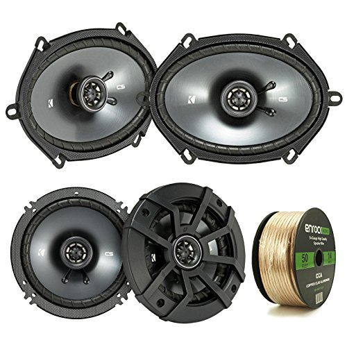 "2 Pair Car Speaker Package: 2x Kicker 43CSC684 450-Watt 6x8"" 2-Way Black Car Coaxial Speakers + 2x CSC654 600-Watt 6-1/2"" Inch 2-Way Speakers - Bundle Combo With Enrock 50 Foot 14 Gauge Speaker Wire"