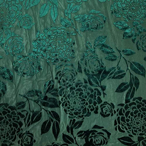 Teal Seamless Floral Pattern on Burnout Velvet Fabric ()