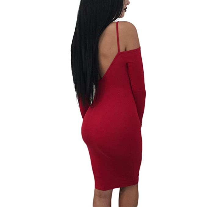 ShiTou Dress, Long Sleeve Deep V Neck, Backless Evening Party Dress at Amazon Womens Clothing store:
