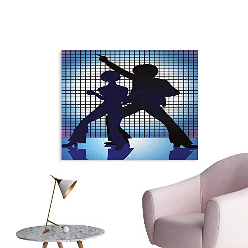 Tudouhoho 70s Party The Office Poster Couple Silhouettes on The Dance Floor in Night Life Oldies Seventies Fun Mural Decoration Blue Purple Black W28 xL20