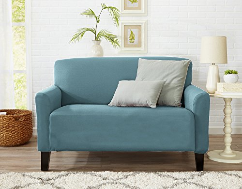 Form Fit, Slip Resistant, Stylish Furniture Cover / Protector Featuring Lightweight Stretch Twill Fabric. Brenna Collection Strapless Slipcover. By Home Fashion Designs. (Loveseat, Smoke Blue – Solid)