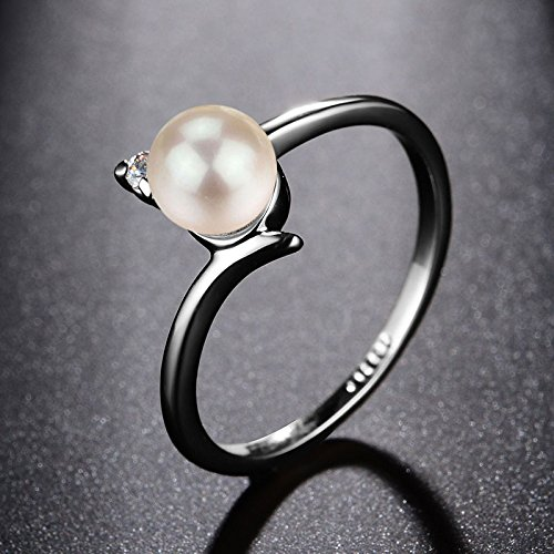 Amazon.com: JEWH Created Pearl Wedding Rings for Women - Jewelry with AAA Cubic Zirconia Crystal Engagement Rings - Lovely Elegant Ring Design (7): Arts, ...