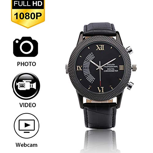 Built In Pinhole - YMXLJJ 1080P Full HD Smart Watch Infrared Night Vision Digital High-end Watch Camera Waterproof Design Loop Recording Very Long Standby Built-in SD Card USB Charging,32G
