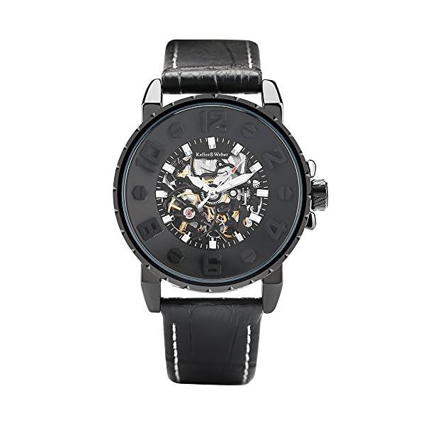 Clearance Watches for Men, Keller & Weber Luxury Watch, Automatic Mechanical Steampunk Gear Men Male Wristwatch 3