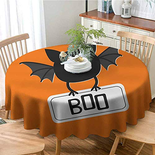 cashewii Halloween Fitted Tablecloth Cute Funny Bat with Plate Boo Fangs Scare Frighten Seasonal Cartoon Print Easy Care D43 Orange Black White