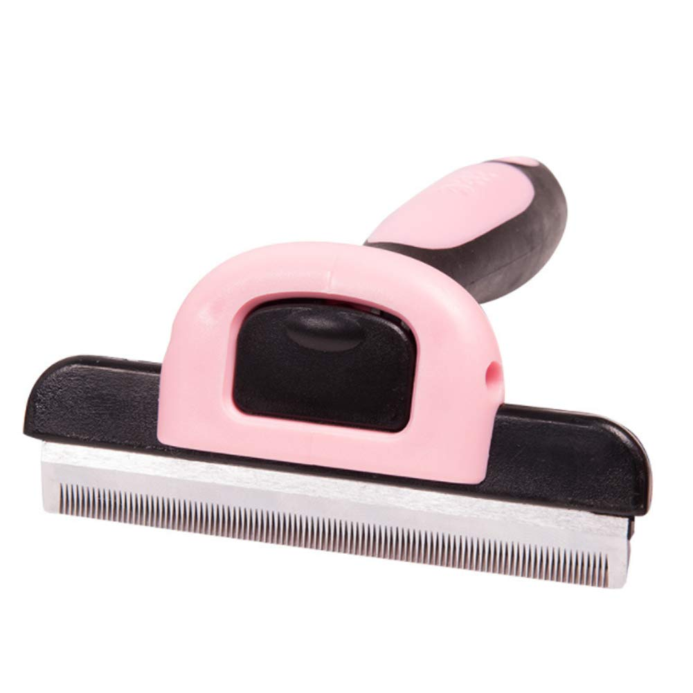PJDDP Pet Deshedding Brush, Professional Grooming Tool, Dramatically Reduces Shedding Up to 90% for Dogs and Cats, with Short to Long Hair Three Sizes,Pink,L