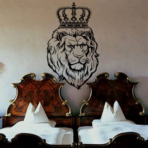 Wall Decals Lion Decal Vinyl Crown Sticker Nursery Bedroom Home Decor Room Interior Design Art Murals MN892