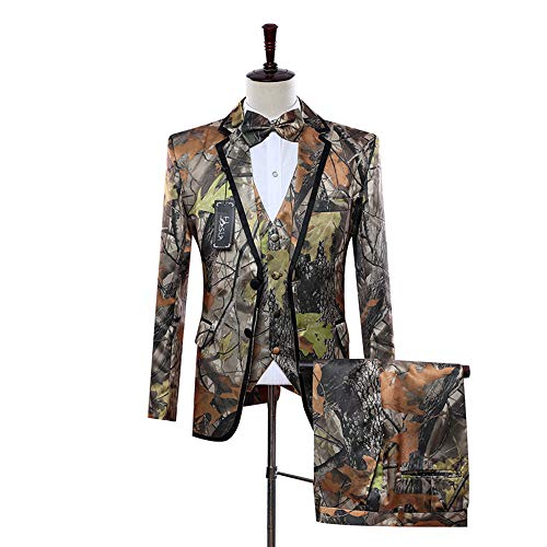 HBDesign Mens 3 Piece 2 Button Flat Collar Camouflage Suits 34R -