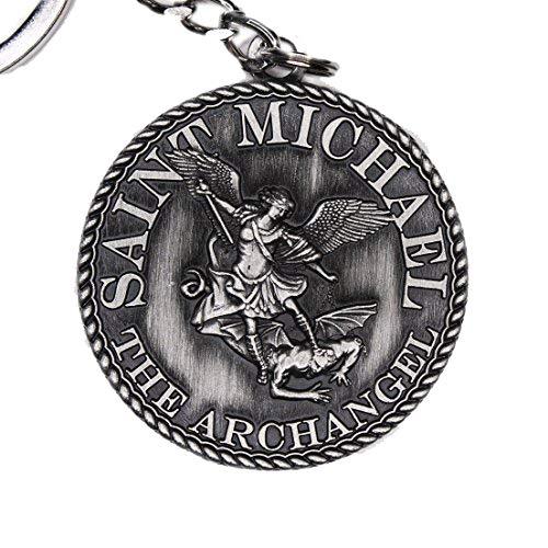 (38mm Dia St Michael Prayer Coin Keychain - Silver Antique)