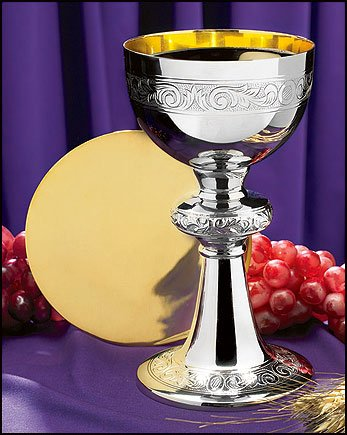 Catholic Brands Nickel Plated Brass Ornamented Chalice and Paten Set, 10 ()