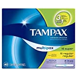 Tampax Cardboard Applicator Tampons, Multipack, Light/Regular/Super Absorbency, Unscented, 40 count - Pack of 3 (120 Total Count)