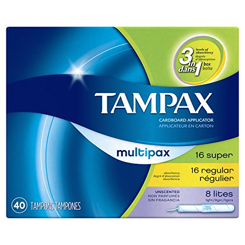 Tampax Cardboard Applicator Tampons, Multipack, Light/Regular/Super Absorbency, Unscented, 40 count - Pack of 3 (120 Total Count) Unscented Light Protection