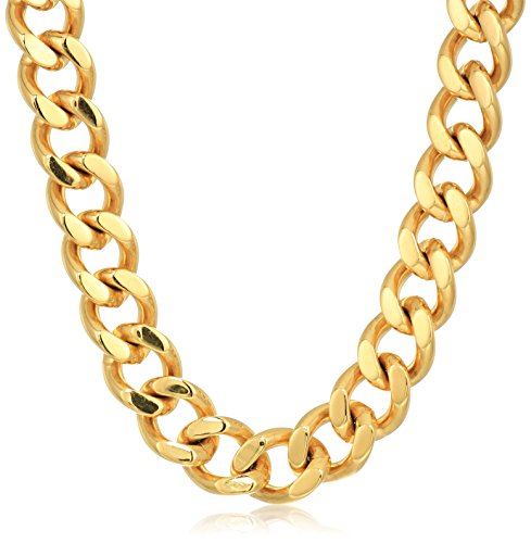 Crucible Jewelry Mens Gold IP Stainless Steel Heavy Curb Link Chain Necklace, 24-Inch, Gold - Gold Heavy Curb Chain