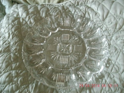 Vintage Federal Glass Georgetown Pattern Egg (12) and Relish Tray Plate Dish