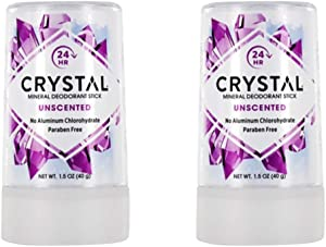 Crystal Body Deodorant Travel Stick, Unscented 1.5 oz (Pack of 2)