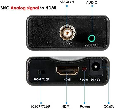 BNC to HDMI Converter Female BNC Video Component Adapter Analog CVBS Input HDMI Composite Connector Box Hook up for HD TV Monitor Security Camera CCTV VCR DVRs with 720 1080P Output HDCP Deep Color