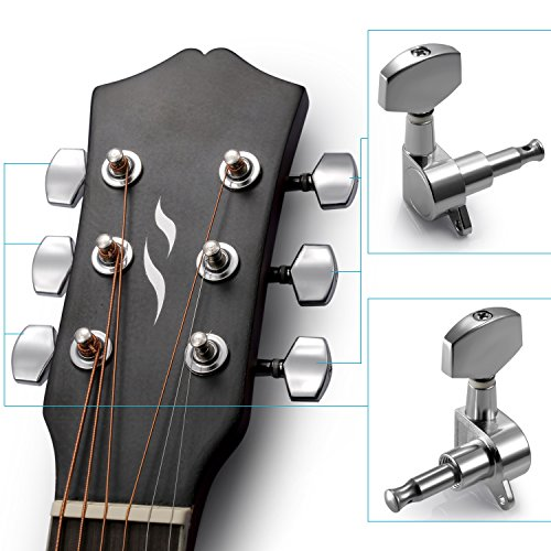 Neewer 6 Pieces Sliver Acoustic Guitar Machine Heads Knobs Guitar String Tuning Peg Tuner(3 for Left + 3 for Right) ()