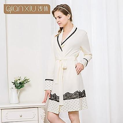 HOOM-Señoras albornoz de algodón tejida Camisón camisón de encaje de algodón,L,