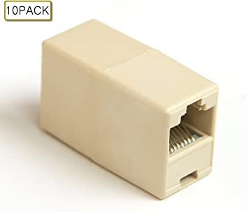 5x CAT5e RJ45 Female to Female Inline Coupler Coupling Joiner Connector Beige