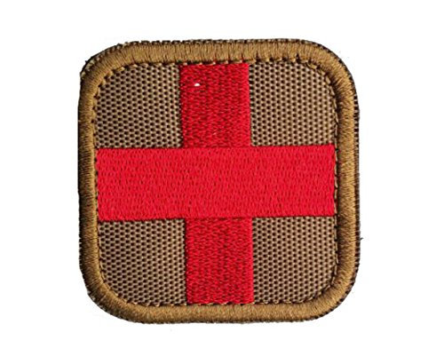 Medic Aid First (Zhikang68 Embroidered Medic Cross Tactical Patch First Aid Decorative Badge appliques (Mud))