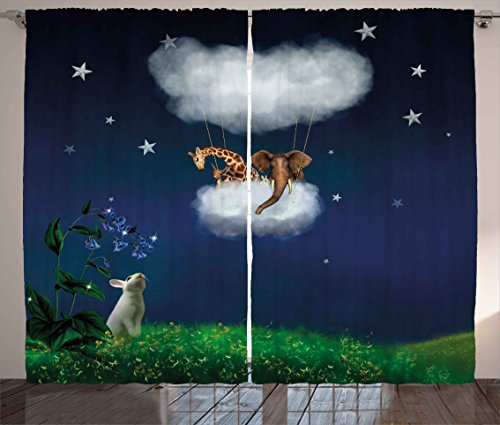 """Ambesonne Fantasy Curtains, Rabbit on Grass Looks to Giraffe and Elephant up in The Cloud Balloon Fiction Image, Living Room Bedroom Window Drapes 2 Panel Set, 108"""" X 84"""", Night Blue"""