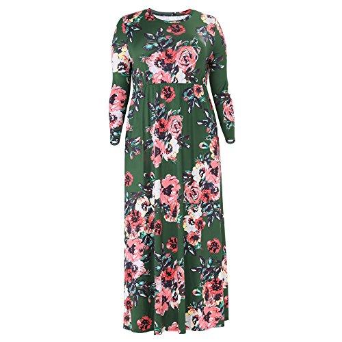 Aidear Imprimé O-cou Des Femmes Manches 3/4, Plus Soir Taille Maxi Robe De Partie (xl-xxxxl) Vert