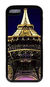 Custom Soft Black TPU Protective Case Cover for iPhone 5C,Eiffel Tower Case Shell for iPhone 5C