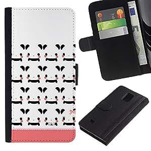 All Phone Most Case / Oferta Especial Cáscara Funda de cuero Monedero Cubierta de proteccion Caso / Wallet Case for Samsung Galaxy Note 4 IV // White Japan Cartoon Peach Pattern