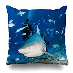 Ahawoso Throw Pillow Cover Zambezi Carcharhinus Bull Shark While Feeding Mexico Coming Leucas Blue Carmen Deep Del Diving Fish Home Decor Pillow Case Square Size 20x20 Inches Zippered Pillowcase  We promise you of pleasant service about total...