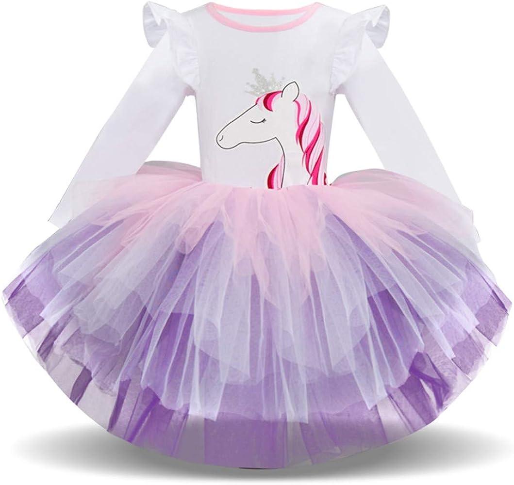 OPAKY Vestido de Tutu Princesa Unicornio Arco Iris Fiesta de ...