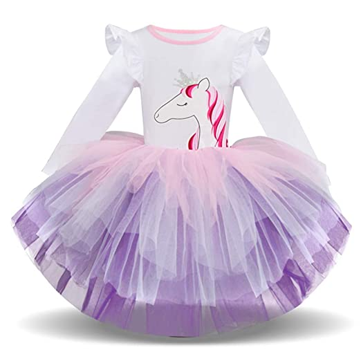 ade5d193c44c Clothful 💓 Children Kids Girl Long Sleeved Cartoon Animal Gauze Princess Tutu  Dress (2-