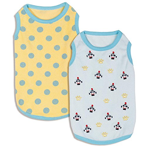 - Blueberry Pet Pack of 2 Soft & Comfy Terry Cotton Pastel Blue Affection Sleep & Play Dog Pajamas & Tank Top T Shirt, Back Length 8