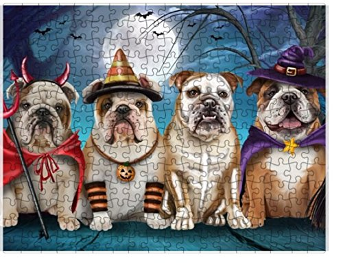 Happy Halloween Trick or Treat Bulldogs Dog in Costumes Puzzle with Photo Tin (1000 pc. 20