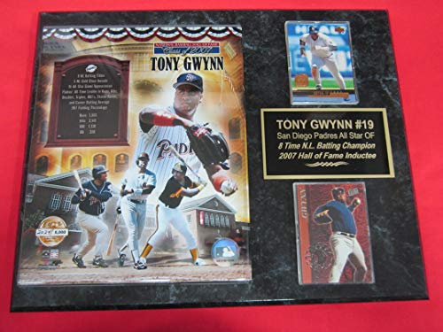 Padres Tony Gwynn 2 Card Collector Plaque #5 w/8x10 Hall of Fame - Clubhouse Padres