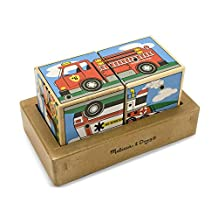 Melissa & Doug Vehicles Sound Blocks 6-in-1 Puzzle With Wooden Tray