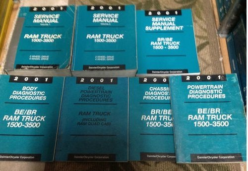 2001 DODGE RAM TRUCK 1500 2500 3500 Service Shop Repair Manual SET FACTORY 01 (2 VOLUME SET, service manual supplement, power train/chassis/body diagnostics procedures manuals.) (Dodge Chassis Body)
