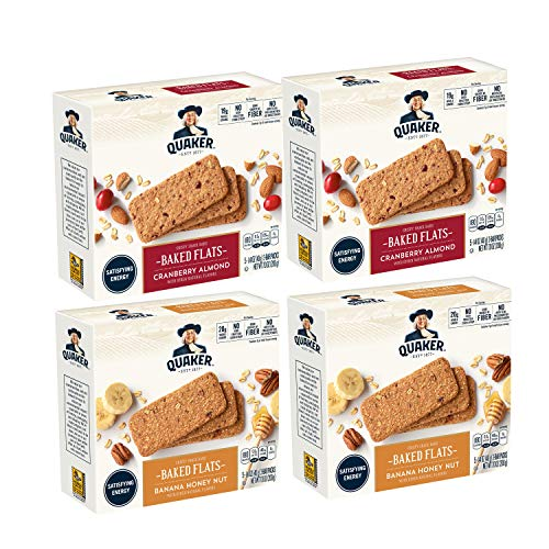 Quaker Baked Flats, Banana Honey Nut & Cranberry Almond, 5-3 Bar Packs (Pack of - Breakfast Biscuits