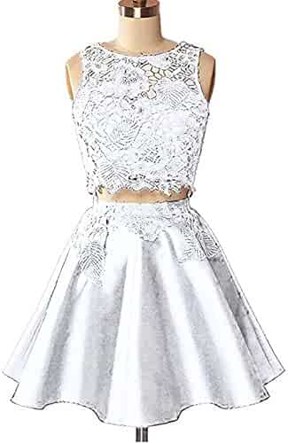 c153f424752 DarlingU Womens Lace Appliqued Prom Homecoming Dresses Two Piece Party  GownHC217