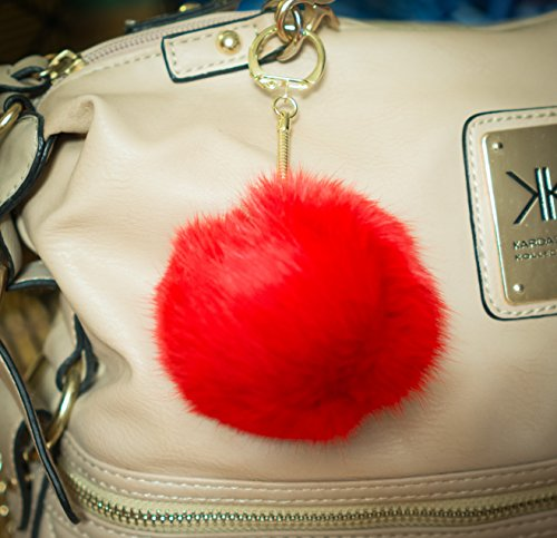 Red 3 FOR 2! 8cm Gold Metal Clasp Keychain Keyring Pompom Ball Real Fur