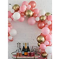 Pateeha Latex Party Balloons 101PCS 10In Rose Gold Balloons Arch Kit for Baby Shower Birthday Party Supplies Wedding Decoration with 1PCS 17Ft Plastic Balloon Garland Strip